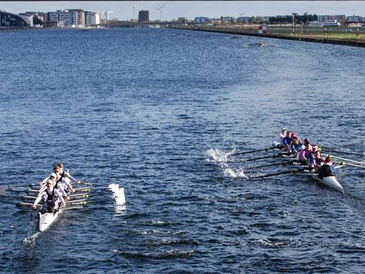 Rowers Racing on the Thames at Poplar, London